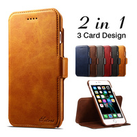 For IPhone 6 6s 7 8 Plus Luxury Leather Wallet Case 2 In 1 Detachable Magnetic