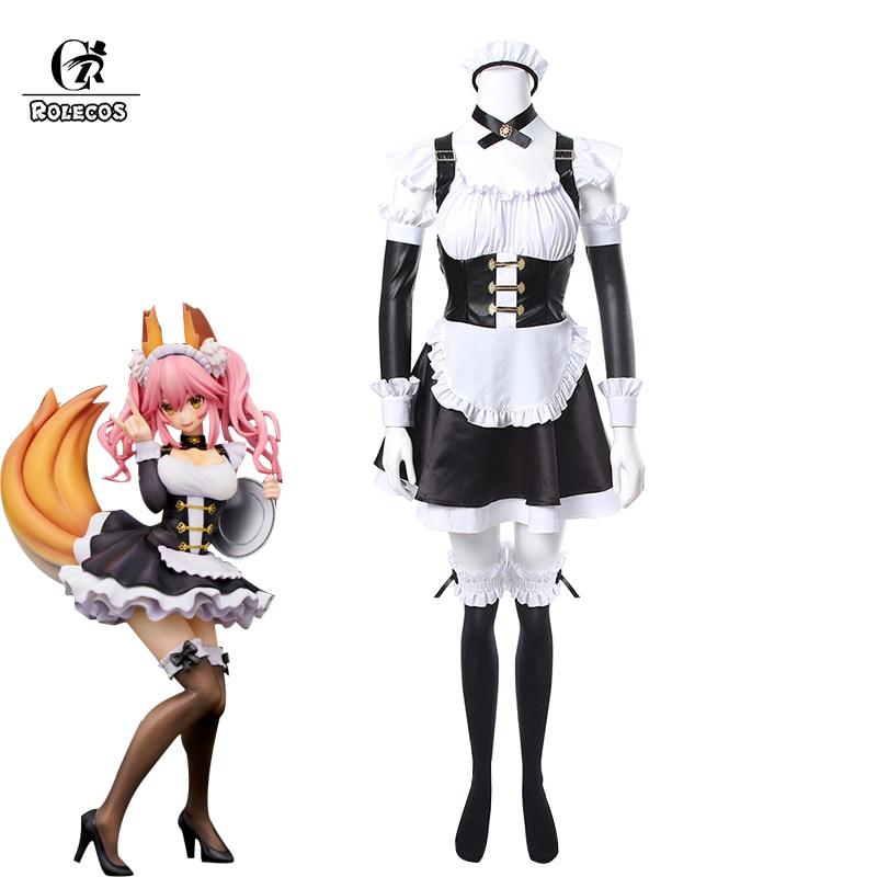 ROLECOS Fate Grand заказ косплей костюм Tamamo no Mae косплей костюм горничной платье Fate/EXTRA FGO Holloween вечерние вечеринка полный комплект