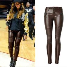 Urumbassa women's Moto&biker leather pants 2018 spring coffee PU leather pencil pants S-2XL plus size pants