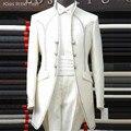 Frete grátis custom made Moda desgaste noivo do casamento Branco Marfim 2 cores