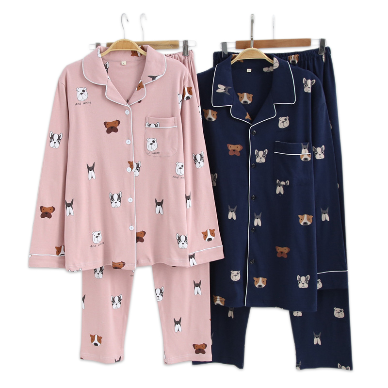 Casual 100% Cotton Couple Pajamas Dogs Indoor Sleepwear 100% Brushed Cotton Winter Pyjamas Women Long-sleeve Pijama For Women