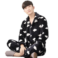 2017 Winter Pijamas Hombre Thick Sleeping Wear Cartoon Print Coral Fleece Mens Pyjama Sets Long Sleeve