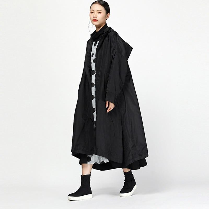 La Capuche Corée Black Patchwork Casual Tranchée Manteau Longue A Zll1375 Mode À Nouvelles Automne Zll1375 Col Femmes xitao line Pleine Femelle Manches green 2018 81I7q