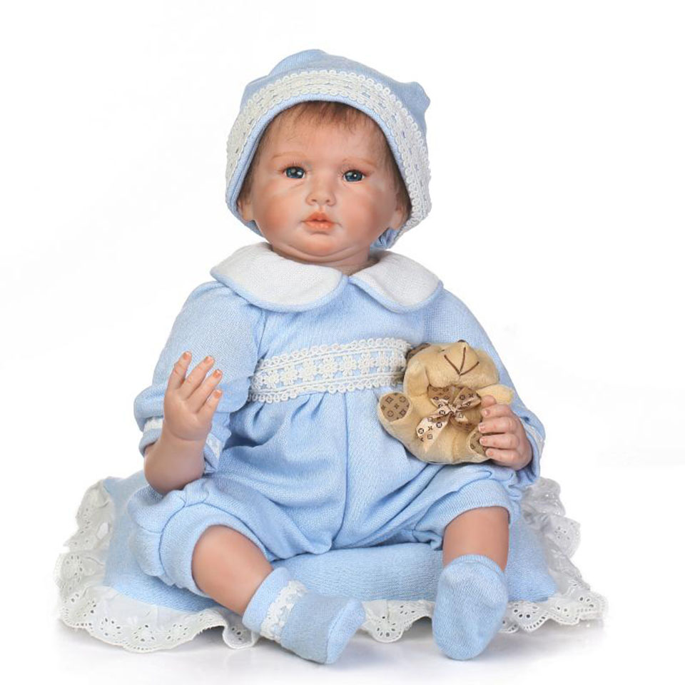 Wholesale Reborn Baby Doll Toys True To Life 22'' Soft Silicone Baby Dolls Realistic Baby Born Wear Blue Rompers Kids Xmas Gift