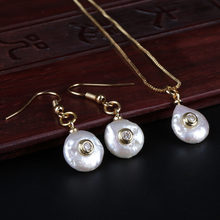 tiny gold crystal charm beads freshwater pearl dangle earring choker necklace jewelry set for women wedding jewelry gift(China)