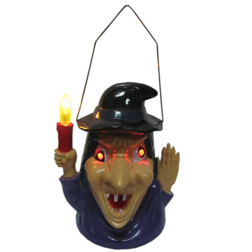 NUQGEW Plastic Electronic Component Witch Hanging Light Lamp Eye Flashing Terror Sound Halloween Party Festival Decor