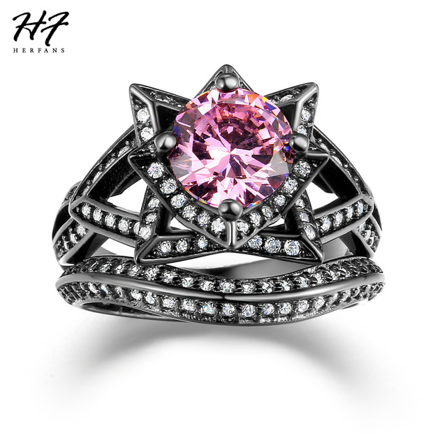 herfans new aaa pink cubic zirconia black gold color engagement ring sets luxury fashion ring for women full size wholesale r618 - Black And Pink Wedding Ring Sets