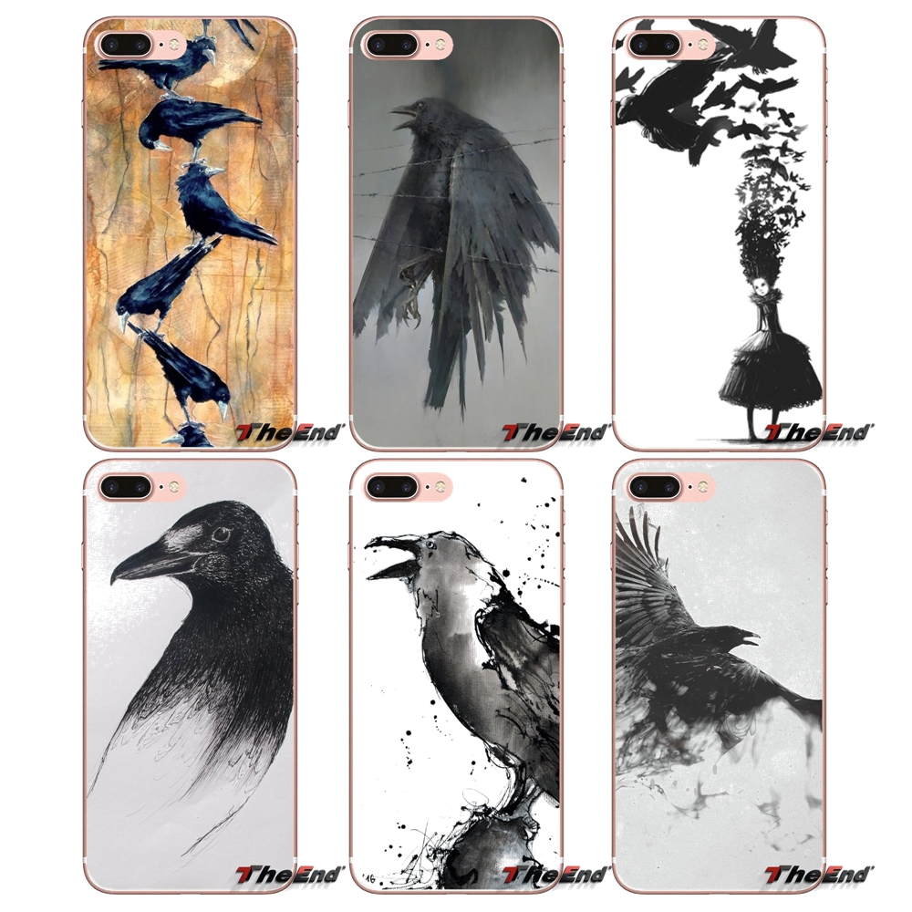 US $0 99 |For Xiaomi Redmi 4 3 3S Pro Mi3 Mi4 Mi4i Mi4C Mi5 Mi5S Mi Max  Note 2 3 4 Cover Coque artwork birds digital art raven Phone Case-in