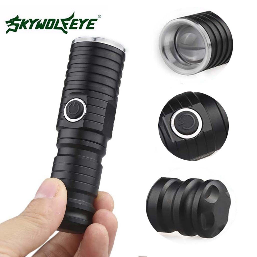 SKYWOLFEYE Focus XML T6 LED Flashlight Torch Rechargeable Zoomable 3 Modes CR123A Mini Portable Flash Light for Outdoor Camping sitemap 123 xml