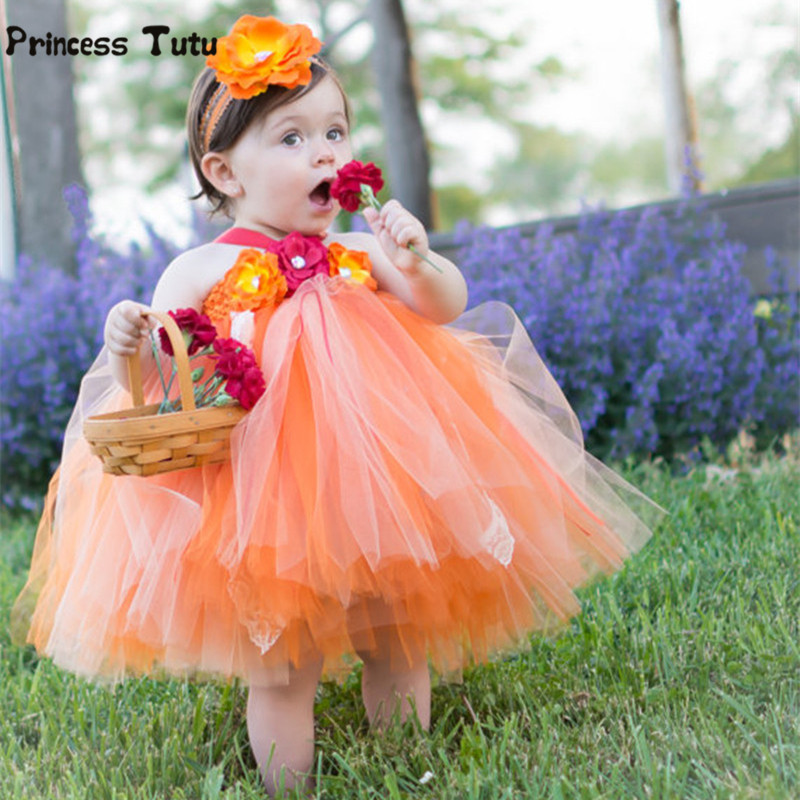 Girls Tutu Dress Cute Tulle Princess Dress Orange Baby Girls Christmas Halloween Costume Kids Girl Festival Birthday Party Dress baby girls christmas halloween costume witch vampire cosplay tutu dress kids princess tulle dress girl festival birthday dress