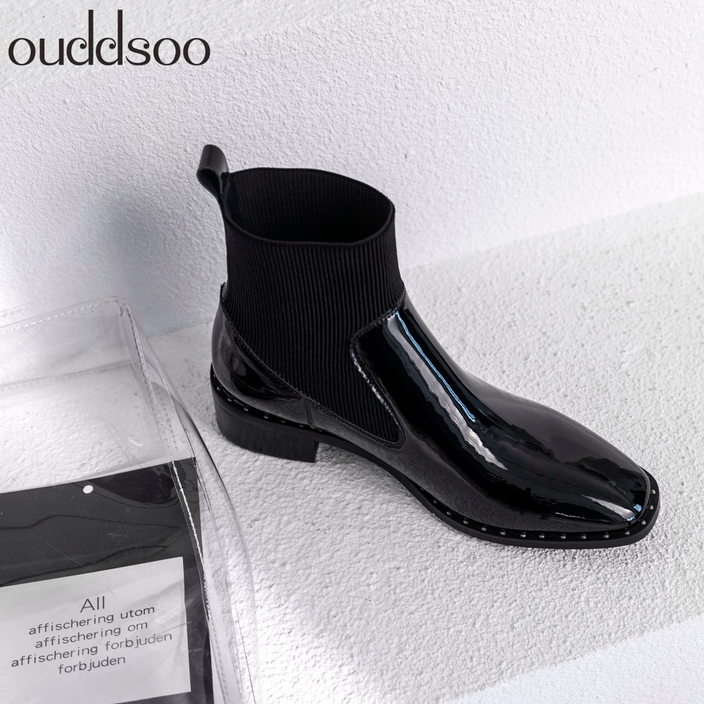 Fashion Chelsea Boots Genuine Leather Woman Party High Heel Black Mulheres Slip On Ankle Boots For Women Brand Chaussure Bottes