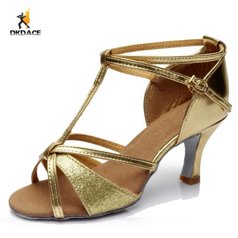 Adult Ladies Professional Sandals PU Glitter Salsa Ballroom Tango Latin  Dance Shoes For Women Girls Gold Silver Black Brown 3afe6803965d