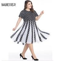 NIBESSER Hepburn Elegancki Vintage Party Dress Kobiety Lato Grochy Urząd Ladies Dress Casual Imperium Vestidos Plus Size 7XL