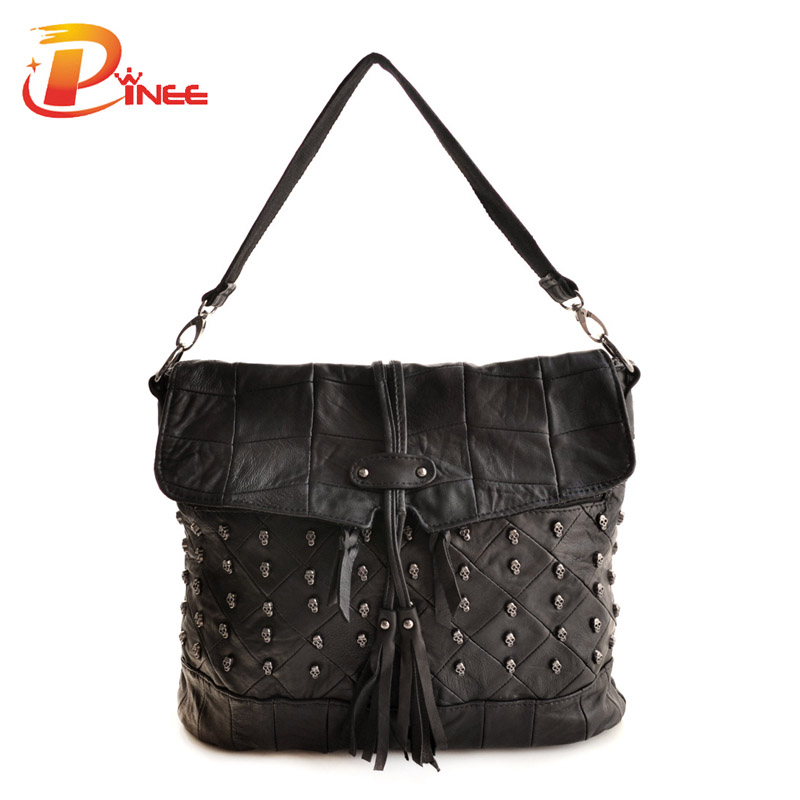ФОТО 100% Real Sheepskin Genuine Leather Bag Fashion Women Messenger Bags Crossbody Skull Bag Dollar Price Free Shipping