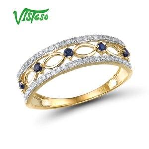 VISTOSO 14K Yellow Gold Rings For Women Genuine Sparkling Diamond Fancy Blue Sapphire Engagement Anniversary Unique Fine Jewelry