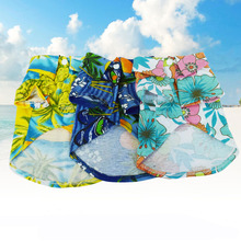 SYDZSW одежда для домашних животных, кошек, собак, летняя мода, Гавайские рубашки для собак, хлопок, щенок, Пляжная футболка с цветочным рисунком, синяя, XS, s, m, l, xl
