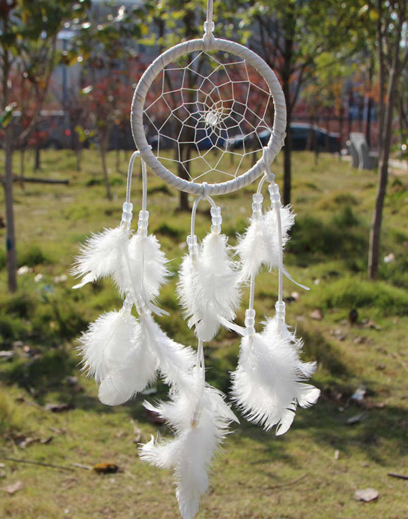 Dream Catcher Circular White Feathers Wall Hanging windchimes nordic decoration home Craft Dreamcatcher Craft Gift