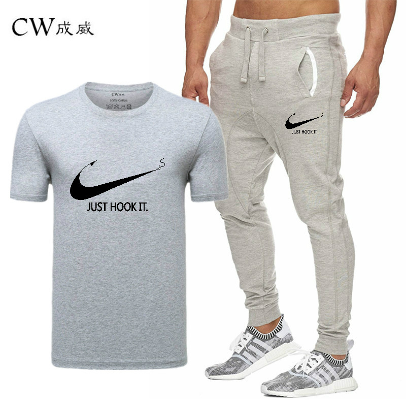 HTB16eXSVCzqK1RjSZPcq6zTepXa2 2019 Quality Men T Shirt Sets+pants men Brand clothing Two piece suit tracksuit Fashion Casual Tshirts Gyms Workout Fitness Sets