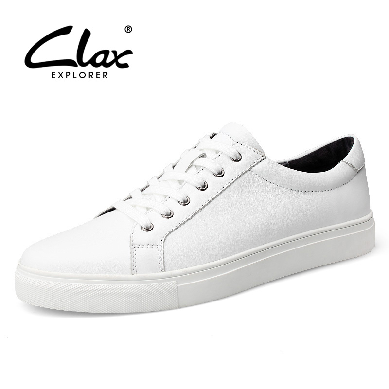 Clax White Shoe Men Casual 2017 Spring Autumn Men's Designer Flat Shoes Genuine Leather Elegant Leisure Shoes British Style