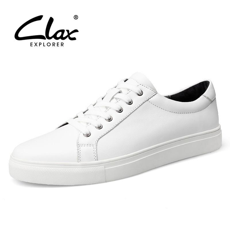 Clax White Shoe Men Casual 2017 Spring Autumn Men's Designer Flat Shoes Genuine Leather Elegant Leisure Shoes British Style