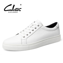 Clax White Shoe Men Casual 2017 Spring Autumn Mens Designer Flat Shoes Genuine Leather Elegant Leisure British Style