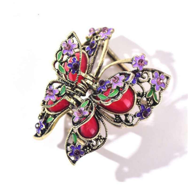 e0dc0ac7a Enamel Colorful Butterfly Hair Claws Gold Color Big Crystal Rhinestone  Flowers Hair Clip Crab Jewelry Wedding