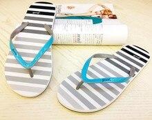 2016 New Women's flip slippers beach flip flops fashion casual sandals stripe paragraph free shipping