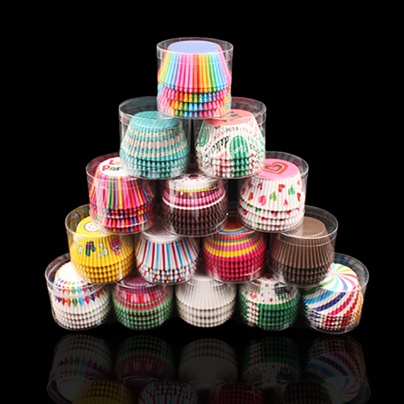 100Pc / Set Paper Cake Forms Cupcake Liner Baking Muffin Box Cup Case Party Fack Cake Mögel Dekoreringsverktyg Muffin Muffinspapper