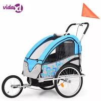 vidaXL 2 in 1 Kids' Bicycle Trailer & Stroller Aluminum Alloy Frame Baby Stroller Fold Bike Trailer Kids Jogger Stroller Trailer