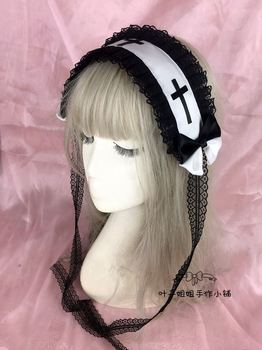 Japanese Gothic Style Girls Cross KC Headband Lolita Female Lace Bowknot Headwear Cosplay Punk Hair band Hairpin Accessories 1