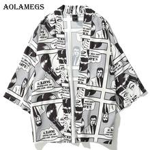 Aolamegs Men Shirt Kimono Cartoon Comics Print Mens Shirt Cotton Open Stitch Casual Fashion Streetwear Spring