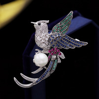 Fashion Art Vintage Micro Pave CZ Flying Phoenix Profile Brooch Pin Imitated Pearl Bird Pin Animal