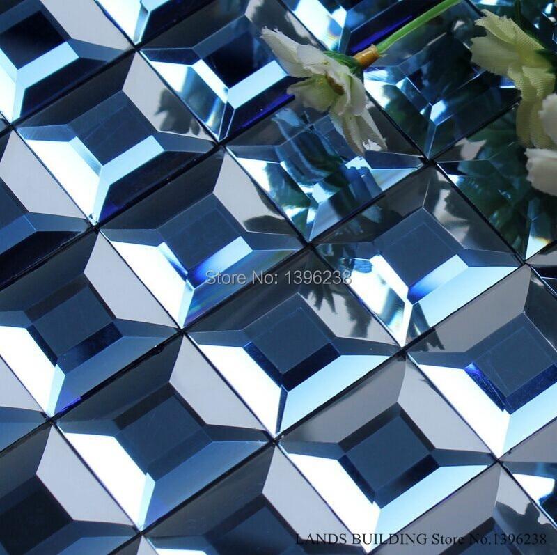 Clear Blue Glass Diamond Mirror Crystal Mosaic Sticker,Popular Bathroom cabinet Display Wall Backsplash decor wallpaper,LSMR12 bathroom decor floral toilet lid wall sticker