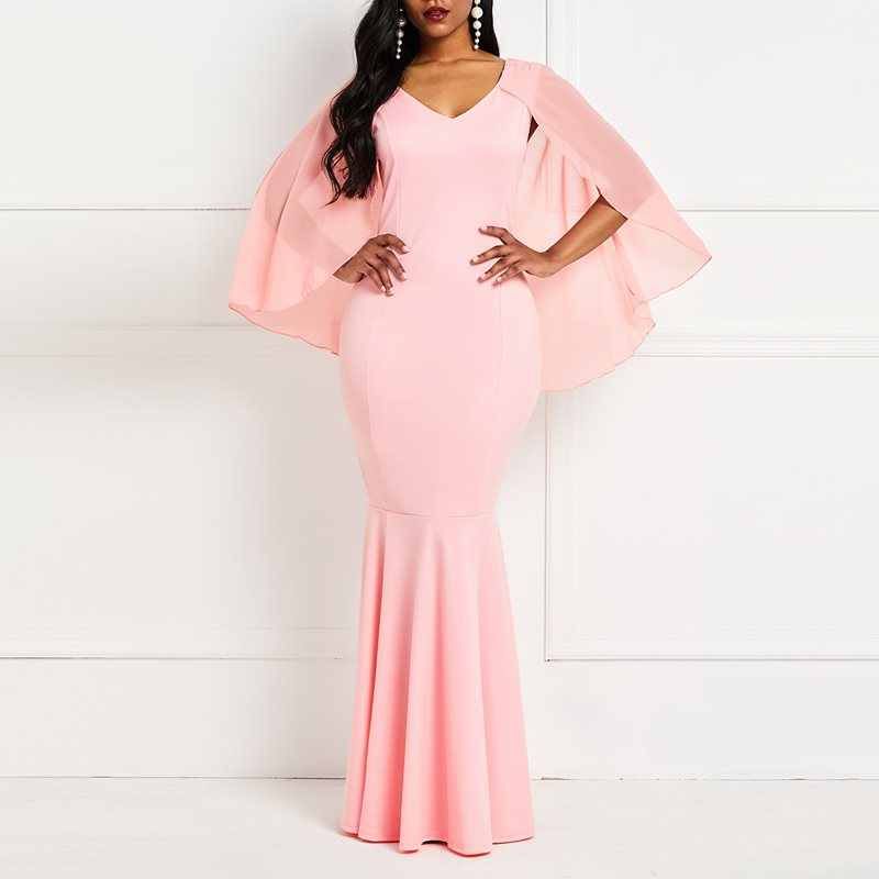 أنيقة حورية البحر الطرف فستان طويل المرأة مثير الخامس الرقبة شبكة عباءة كم خمر حجم كبير السيدات الوردي Bodycon ماكسي فساتين الخريف
