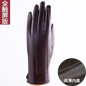 Image 5 - Zimowe oryginalne skórzane rękawiczki rękawice z owczej skóry dodaj aksamitne pogrubienie krótkie rękawiczki telefingers damskie rękawiczki do ekranu dotykowego MLZ005