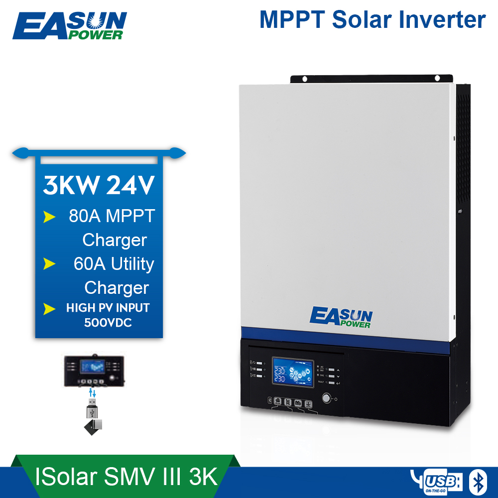 EASUN POWER Bluetooth Inverter 3000W 500Vdc PV 230Vac 24Vdc 80A MPPT Solar Charger Support Mobile Monitoring