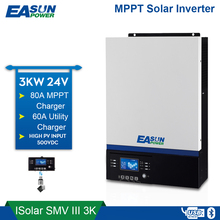 EASUN POWER Bluetooth Inverter 3000W 500Vdc PV 230Vac 24Vdc 80A MPPT Solar Charger Support Mobile Monitoring USB LCD Control