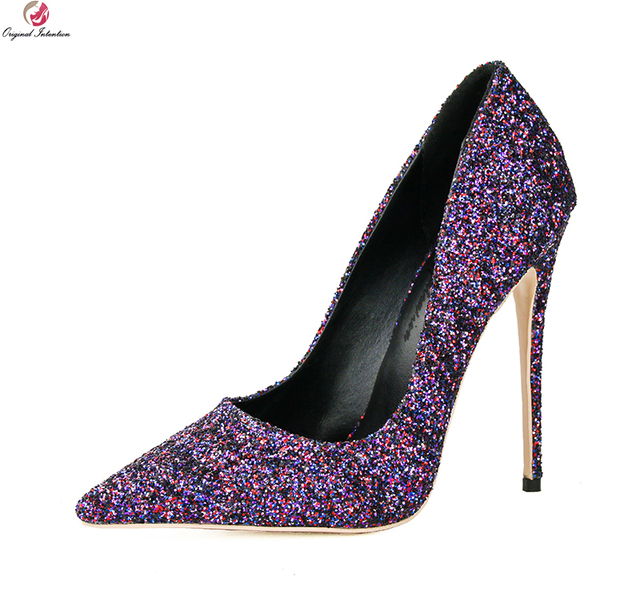 16f93359291 Original Intention New Popular Women Pumps Elegant Glitter Pointed Toe Thin  High Heels Purple Shoes Woman Plus US Size 3-10.5