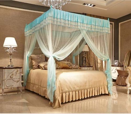 Light Blue Four Corner Post Bed Canopy Mosquito Netting No Frame