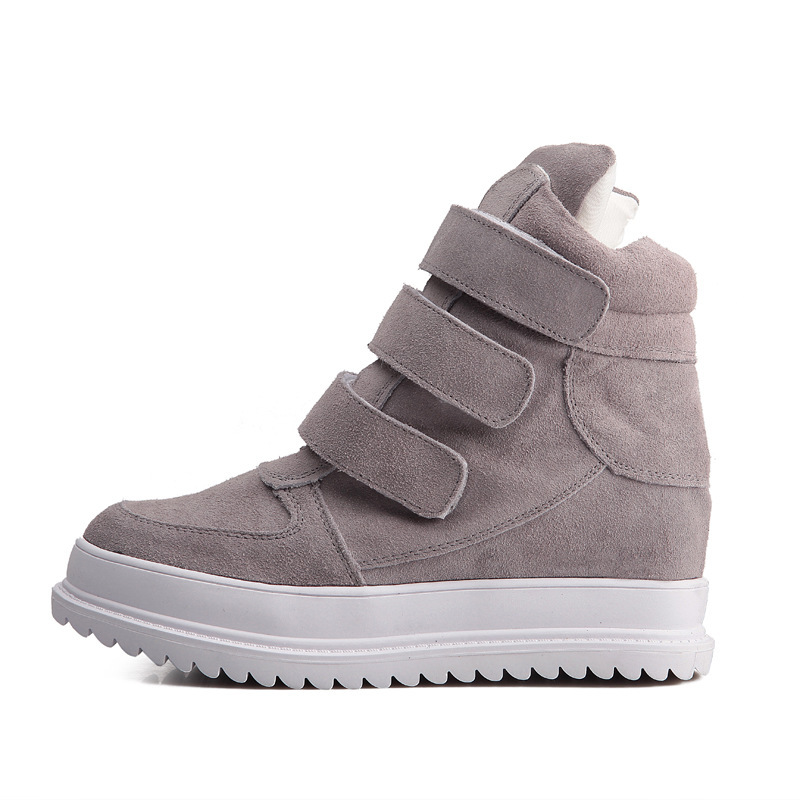 Spring Autumn Women Wedges Chunky Heel Sneakers Height Increase Elevator Genuine Leather Buckle Casual Sport Shoes 35-39 SXQ0626
