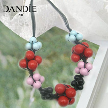 Dandie Trendy Handmade Four Color Acrylic Bead Knot Short Women Dainty Necklace