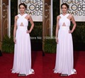 2016 White Chiffon golden Globe Awards Criss Cross A-Line Sleeveless High neck evening Gown cellbrity Dress 0878