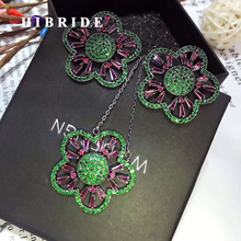 HIBRIDE Colorful Cubic Zirconia Rhinestone Full Jewelry Sets Women Earring Necklace Set Dress Accessories Party Gifts N-337