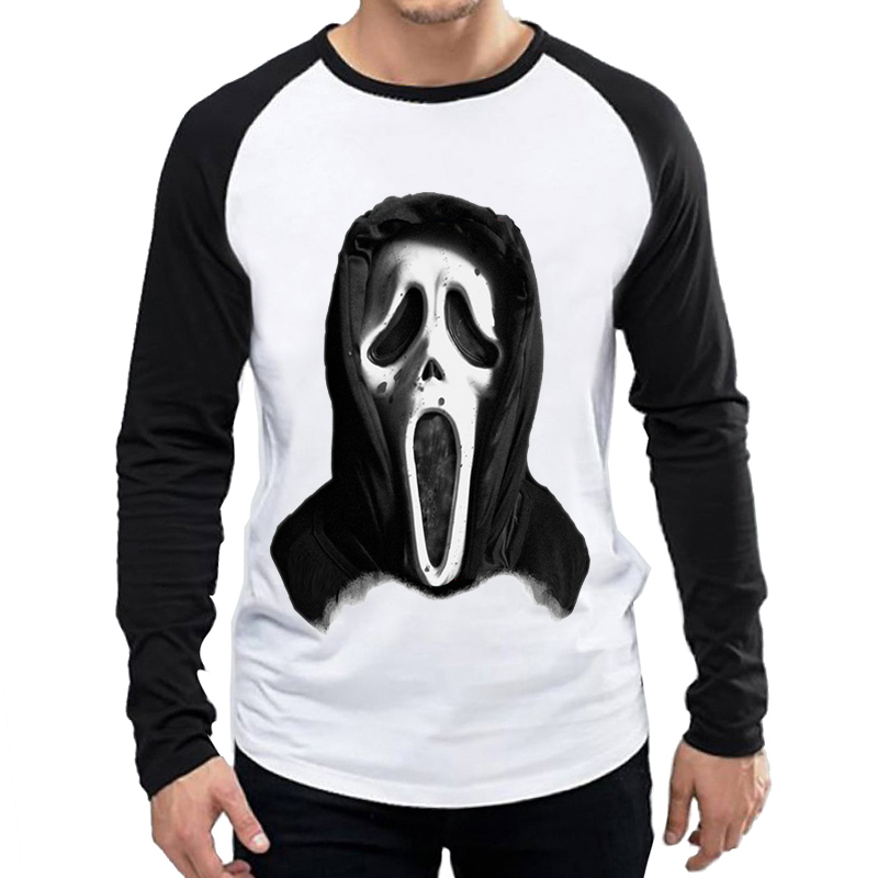 Scream T Shirt White Color Mens Fashion Scary Movie Scream Face T shirt Tops Tees tshirt Long Sleeve Casual T shirt in T Shirts from Men 39 s Clothing
