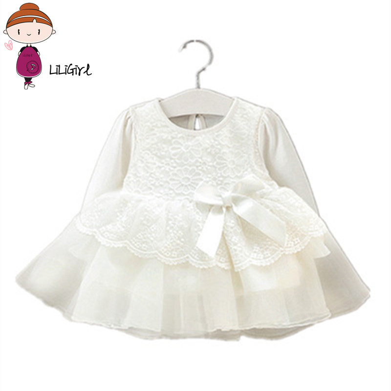 Newborn Baby Dress Girl Clothes Lace Long Sleeve Wedding Christening Gowns Dress for Infant New Year
