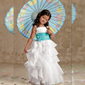 turquoise flower girl dresses scoop 3D flower organza ruffles vestido sash long aqua little girl dresses at weddings