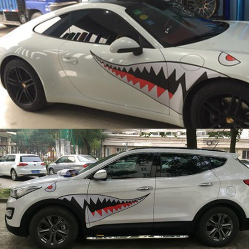 1Pair 150cm Funny DIY Car Styling Animal Shark Sticker Decal Shark Mouth Tooth Teeth Vinyl Stickers Waterproof hot sale 1pc longhorn hilux 900mm graphic vinyl sticker for toyota hilux decals badges detailing sticker car styling accessories