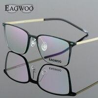EAGWOO EMS Rubber Titanium Eyeglasses Girl Men Full Rim Optical Frame Prescription Spectacle Square Myopia Eye Glasses 890022