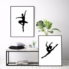 Ballet Girl Silhouette Artwork Canvas Art Print Painting Poster Wall Pictures For Kids Room Home Decorative Decor No Frame