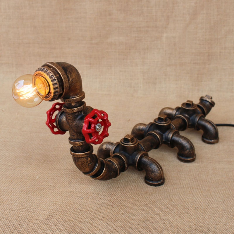 American country art deco animal caterpillar table lamps e27 study desk lamp for bedside bedroom/living room/office/bar/cafe - 2